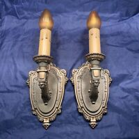 Pair of antique polychrome Riddle sconces Rewired Nice! 93D