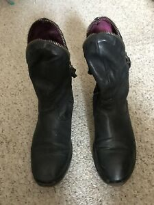 Airstep Shoes Black Genuine Leather Ankle Boots Size 38 Euro/ 5 Uk