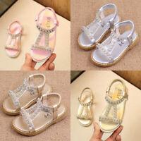 Toddler Baby Girls Beach Summer Sandals Kids Open Toe Rhinestone Shoes Size 7-11
