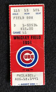 Ryne Sandberg HR #200 Ticket Stub Phillies vs. Cubs Aug 18, 1991 Home Run