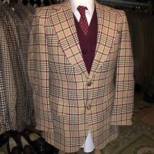 Vintage Mens Tweed Windowpane Check Harris Style Suit Jacket Blazer Tartan 40S