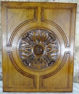 French Antique Deep Carved Walnut Wood Panel  Salvage - Rosette 2