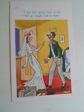Risque Vintage Postcard JUST MARRIED Humour  Artist: TROW  §A59