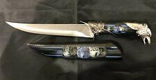 """13"""" WOLF HEAD DAGGER KNIFE w/ COLLECTOR'S SHEATH Fantasy Steel Hunting Blade"""