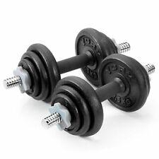 York 20kg Adjustable Dumbbell Set Round Black Cast Iron Spinlock Gym Weights