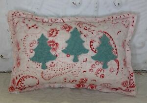 NEW Handmade Christmas Trees Pillow Tuck    Vintage English Quilt  Old Chenille