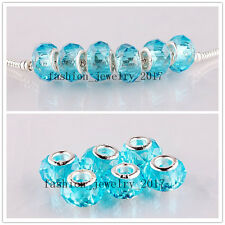 FREE Wholesale 5X Blue Crystal Glass Faceted Beads Fit European Bracelet Gift