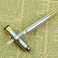 Practical Medium 250 Stainless Steel Luxury Silver Gold Trim Fountain Pen Gift