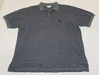 Brooks Brothers Golden Fleece Short Sleeve Polo Shirt Gray Blue Striped Medium