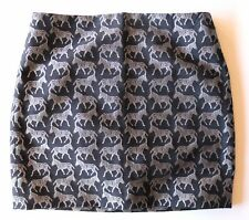 J.CREW 6 BRAND NEW w TAG Short Black Skirt with Silver Embroidered Zebras CUTE