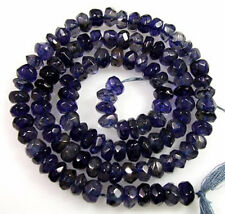 GENUINE NAVY BLUE WATER SAPPHIRE IOLITE FACETED RONDELLE BEADS 13.5""