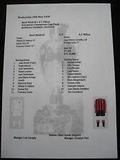 1957-58 Coupe des Champions Finale Real Madrid V A C Milan matchsheet