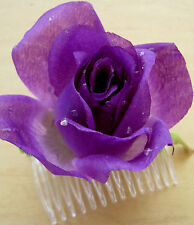 "3"" Purple Dewdrop Rose Silk Flower Hair Comb, Wedding.Prom,Dance,Party"