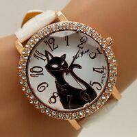 Fashion Crystal Cute Cat Dial Leather Band Strap Quartz Wrist Watch Women's Gift