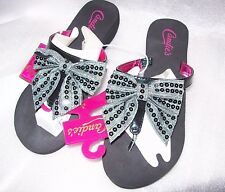 Candie's Sequin Bow Wedge Flip-Flops BLACK OR SILVER MSRP$24 SMALL, LARGE XL NEW