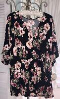 NEW Plus Size 3X 2X Black Pink Floral Blouse Faux Wrap Top Shirt