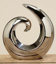 Deko-Objekt Bogen B-Ware Statue Deko Skulptur Welle Metall-Optik Wohndeko Deko