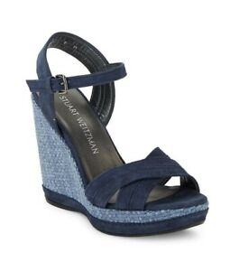 STUART WEITZMAN ELEVATE BLUE SUEDE WEDGE SANDALS SZ 9.5 NEW