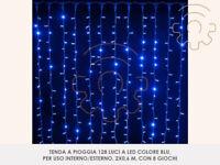 Tenda a pioggia 128 luci di Natale a led blu 200x60 cm per esterno e interno pro