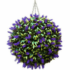 30cm Topiary Balls Artificial Lavender Buxus Flower Hanging Basket Plant Purple