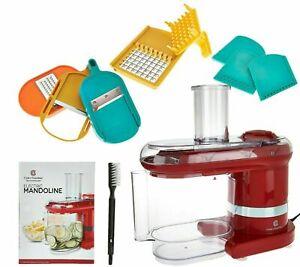 Cook's Essentials Electric Mandoline: Chopper, Slicer w/ 7 Blades & Lid - Red