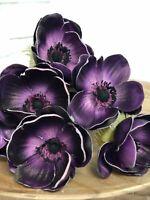 PU Anemone Bouquet Wedding Decor Real Touch Lavender Anemones Flower
