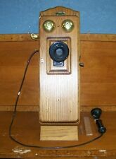Antique Looking VINTAGE Reproduction Kellogg Style Wall Mount Wood Box Telephone