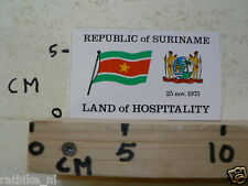 STICKER,DECAL REPUBLIC OF SURINAME LAND OF HOSPITALITY 1975