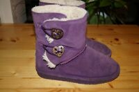 Bearpaw Abigail Youth Girls Suede Plum Winter Boots Sheepskin Fur Toggle Size 2