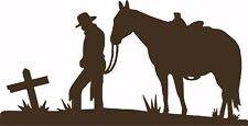Cowboy Horse Cross Christian Western Rodeo Car Truck Window Vinyl Decal Sticker