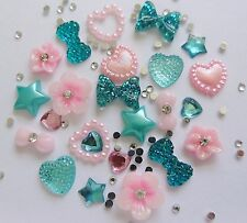"24 x 3D Acrylic Nail Art ""Turquoise & Pale Pink"" Flowers,Bows,Pearl Hearts Craft"