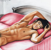 Print Of Male Oil Painting - Sleeping Man - Pin Up Art Drawing By Artist Andreev