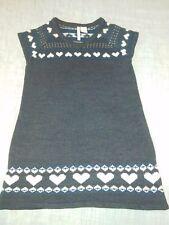 Girl's Heart-n-Crush Gray White Hearts Sweater Dress Size XL