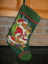 Vintage Needlepoint Embroidery Wool Cotton Christmas Stocking Teddy Bear 1991