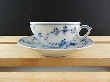 ROYAL COPENHAGEN PORCELLANA BLUE FLUTED PLAIN TEA CUP & SAUCER TAZZA TÈ