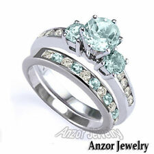 14k White Gold Aquamarine Diamond & Gemstone Engagement & Wedding Ring Sets