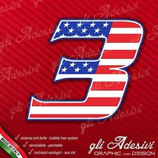 Adesivo Stickers NUMERO 3 moto auto cross gara USA Star & Stripes 5 cm
