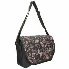 Jeep Ladies Black Floral Print School Laptop Computer Messenger Courier Bag