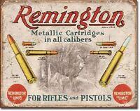 Remington For Rifles & Pistols Ammo Distressed Retro Vintage Ad Metal Tin Sign