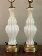 Vintage Pair Murano Barbini Bullicante White Gold Table Glass Lamps Aventurine