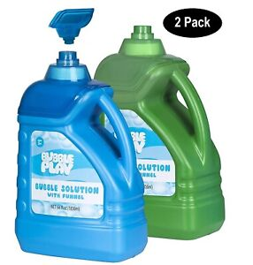 2 Bottles - 64-Ounce Bubble Solution - Easy Pour Funnel, Refills - Non Toxic