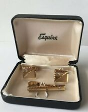 Vintage Esquire Cuff Links & Tie Tack Gold Plated & Diamond Original Box 1950s