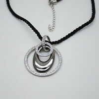 lia sophia jewelry black rope chain silver tone cut crystals pendant necklace