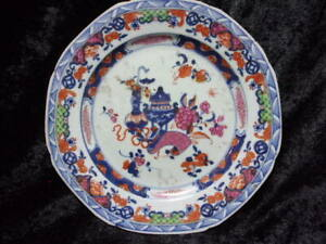 ANTIQUE PAINTED CHINESE PORCELAIN PLATE, 'CLOBBERED', REPAIRED.