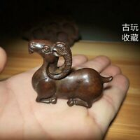 Old Antique Tea Pet Pure Solid Red Copper goat sheep Handwork chinese Statue