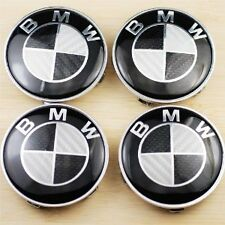 4x REAL Black Carbon Fits BMW MOST SERIES 68mm ALLOY WHEEL CENTRE CAPS