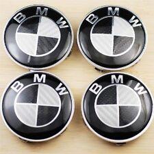 4x Real carbone noir pour BMW Plus Series 68 mm Roue Alliage Centre Caps