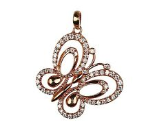 Rose Gold Plated - 925 Sterling Silver Elegant Cubic Zirconia Butterfly Pendant
