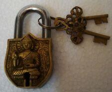 ANTIQUE Style HINDU Lord BUDDHA Padlock - Lock with Key - Brass (422)