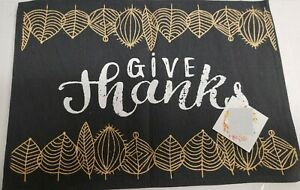 """Set of 4 Tapestry Placemats, 13"""" x 19"""", GOLDEN LEAVES ON BLACK, GIVE THANKS, HC"""